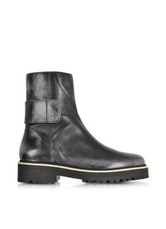 e85ac97b27 MM6 Maison Martin Margiela Black Distressed Leather Boot. Shoe Department  ...
