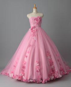 カラードレス プリンセスドレス ピンク オーガンジー 花飾り 花嫁ドレス 二次会 披露宴 挙式 pcaj0012