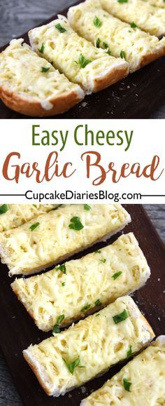 Cheesy Garlic Bread is the perfect side dish for pasta night. And this recipe is about as easy as they come! Cheese makes everything better. Side Dish Recipes, Bread Recipes, Cooking Recipes, Cooking Bread, Muffin Recipes, Cheese Recipes, Bread Baking, Cheesy Garlic Bread, Baked Garlic