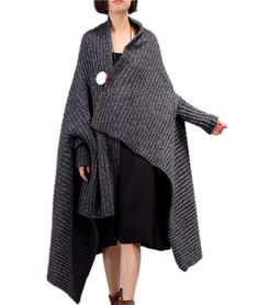 153b0a0b50 JW2 Women Casual Loose Cloak Chunky Cape Sweater Cable Knit Unique Sleeve  Design 603981436457