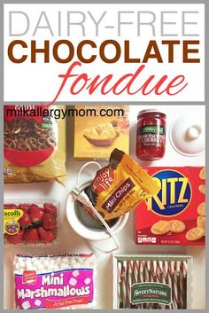 Easy dairy-free egg-free nut-free vegan chocolate fondue for Valentine's Day! More fun allergy-friendly ideas at Milk Allergy Mom. Dairy Free Chocolate, Vegan Chocolate, Chocolate Fondue, Chocolate Recipes, Party Food Valentines Day, Kids Valentines, Dairy Free Snacks, Fondue Party, Party Spread