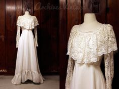 vintage wedding dress / white lace 1960s 1970s by vintagearchives