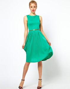 Sleeveless Midi Dress With Pleated Skirt And Belt
