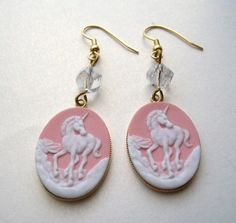Unicorn Cameo earrings £3.50