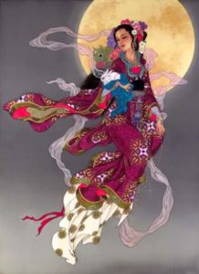 Geisha ~ Caroline Young~ Not that I think its Geisha the artist paints chinese art in the collection I pinned this from ? Art Geisha, Geisha Kunst, Goddess Art, Moon Goddess, Divine Goddess, Chinese Painting, Chinese Art, Art Chinois, Art Asiatique