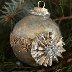 Victorian Sheet Music Hand Painted Glass Ball Ornament