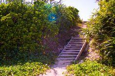 Leaving the beach by VernMcCrea  sky beach fall sand stairs outdoors wooden brush sun flair Japan Okinawa Muruku Beach VernMcCrea