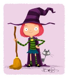 A little witch and her little cat