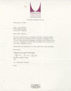 Letter from Martha Vander Linde, cc. Girard to Mrs. Irwin Miller, 1966.  Martha Vander Linde of Herman Miller Textiles wrote to Mrs. Miller (at Girard's request) and sent her wallpaper samples. Girard designed both textiles and wallpaper for Herman Miller.