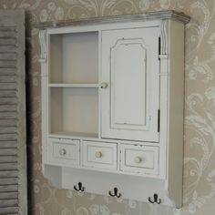 Cream Wall Mounted Cupboard with hooks French country kitchen bathroom storage in Home, Furniture & DIY, Furniture, Cabinets & Cupboards Cupboard Drawers, Cupboard Storage, Storage Shelves, Kitchen Storage, White Bathroom Storage, Bathroom Wall Cabinets, Kitchen Cabinets, Trendy Furniture, Vintage Furniture