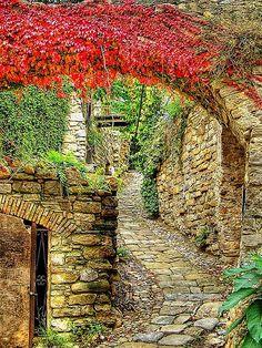 Cobblestone Street, Liguria, Italy
