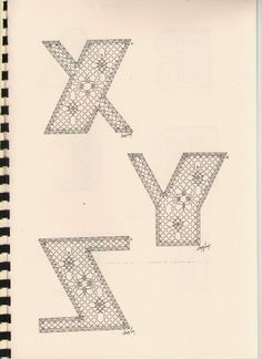 Alphabet X à Z Torchon Alphabet, Bobbin Lacemaking, Bobbin Lace Patterns, Lace Heart, Lace Jewelry, Lace Making, Lace Detail, Tatting, Crochet