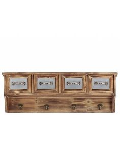 Country Style Wooden Entryway Wall Cabinet with Drawers and Hooks - Showcasing unconventional style and convenient versatility, this hanging cabinet will add tone and depth to your interior settings. The wooden hanging cabinet is made from quality wood and metal for years of lasting beauty and use. It has four cabinets and four hooks. The dimensions of this wall storage shelf with hooks are 24.8