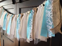Teal Satin, Lace & Burlap Shabby Chic Rag Tie Fringe Garland, Bunting, Banner…