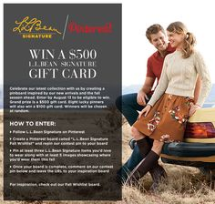 terms and conditions: http://www.llbean.com/signature/contestLander/ #pinterest #contest #pintowinme