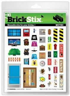 Brick Stix - Metro - Reusable Stix For Your Bricks! by BrickStix. $5.99. They are compatible with most smooth plastic bricks.. Choose and place your BrickStix.. Brick. Stick. Restick. Build your brick creation!. Rearrange as necessary.. BrickStix are reusable, removable and restickable cling decals.. Greyson loves to build! When he was nine years old, he was frustrated with the stickers that came with brick sets. If he put them on, he couldn't get them off. Plus, they were ...