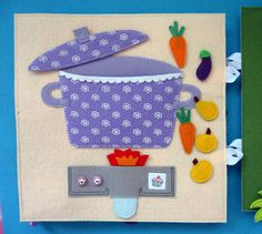 The lid open to store the vegetables for the soup. Notes fetrogolika. Products made of felt: The book for a boy Akim