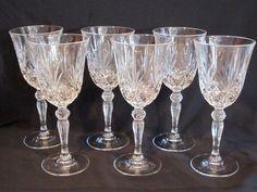 Set of Luminarc Diamond Pattern Crystal Stemware Wine Glasses Made in USA Crystal Glassware, Antique Stores, Vintage Glassware, Diamond Pattern, Clear Crystal, Wine Glass, Pottery, Crystals, Antiques