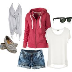 Pink Hoodie, White Tee, Denim Shorts, Light Grey Scarf, Grey Stripe Toms, & Glasses.