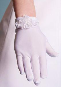 Girl's Matt Satin Holy Communion Gloves - Organza Flower and Pearls - LG50 Linzi Jay - Elegant Child Size First Communion Gloves Age 7 - 12 years
