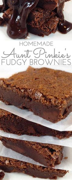 Aunt Pinkie's Famous Fudgy Brownies. A fudgy and decadent brownie. Perfect warm, topped with vanilla bean ice-cream, drenched in hot fudge sauce.