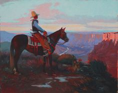 Whispering to his horse. Acrylic and oil on canvas. 8X10 inches (Sold) | Mark Maggiori