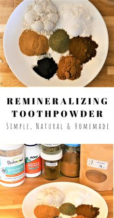 This homemade tooth powder uses herbs, calcium magnesium and bentonite clay to create help remineralize teeth. Herbal Toothpaste, Toothpaste Recipe, Homemade Toothpaste, Remedies For Tooth Ache, Homemade Beauty Products, Natural Products, Tooth Powder, Diy Lotion, Teeth Care