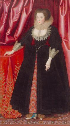 ca. 1615 Mary, Lady Vere by William Larkin (Melbourne, Victoria, Australia) Wm shadows