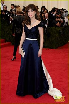 zooey deschanel represents tommy hilfiger on met ball 2014 red carpet #tommyhilfiger #MetBall