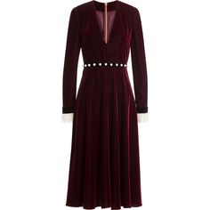 Philosophy di Lorenzo Serafini Velvet Dress ($1,000) ❤ liked on Polyvore featuring dresses, red, velvet dress, red victorian dress, v-neck dresses, red velvet dress and brown dress