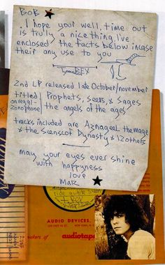 Letter to Bob Harris, disc jockey, Compere Rex 1971 Tour and Old Grey Whistle Test host