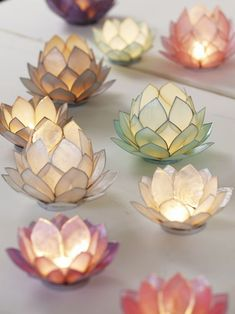 Ideas For Wedding Diy Paper Candle Holders Lotus Candle Holder, Candle Holders, Diy Paper, Paper Crafts, Diwali Decorations At Home, Fleurs Diy, Burning Candle, Diy Wedding, Glass Art