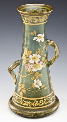 Moser Gilt and Enameled Green Glass Vase with Wild Roses
