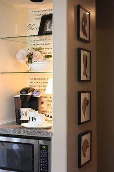 Suzie: My Sweet Savannah - Built-in kitchen nook with glass shelves, microwave, granite ...