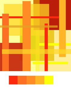 This artwork contains orange, red and yellow, three analogous colours which when put together, produce a warm harmony. The three colours work together to appear balanced and composed.
