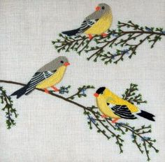 Cutest DIY set I've ever seen - Goldfinches Crewel Kit    Sold out last Xmas, now available again