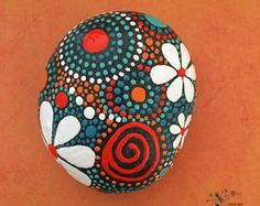 Hand Painted Stone Hummingbird Motif Mandala by etherealandearth
