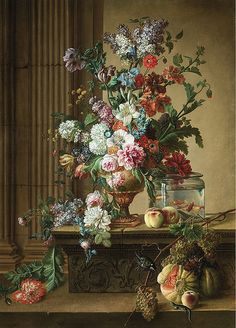 Circle of Gerard van Spaendonck - Still life with flowers, fruit, goldfish, a lizard and a great tit. Gerard van Spaendonck March 1746 – 11 May. Art Floral, Old Paintings, Beautiful Paintings, Vintage Art Prints, Fine Art Prints, Still Life Flowers, Tile Murals, Vanitas, Classical Art