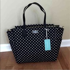 """Kate Spade ♠️ Baby Bag Big beautiful taden baby bag with open top, wipe able lining.  Comes with mat & shoulder strap. Measures 12.5""""X 14.8""""x6.5"""". Retails $300 kate spade Bags Baby Bags"""