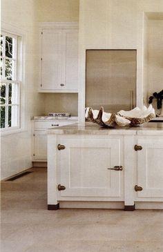kitchen with vintage icebox hardware