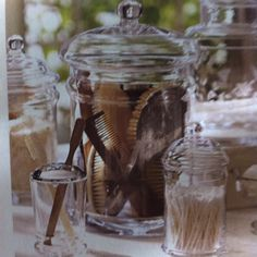 love the clear jars for bathroom supplies like cottonballs and q-tips and such