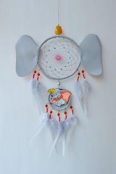 Dumboo Inspired Fan Gift Elephant Dream Catcher Wall Hanging | Etsy Blue Dream Catcher, Dream Catcher Nursery, Dream Catcher Mobile, Diy Dream Catcher Tutorial, Mixed Media Jewelry, Little Elephant, Mickey Mouse And Friends, Nursery Room Decor, Best Birthday Gifts