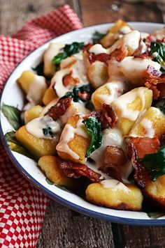 Roasted Garlic Gnocchi with Bacon, Spinach, and Smoked Gouda Cream Sauce. SOLD! Try with Kings Choice Dutch Gouda!