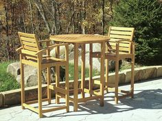 3 piece Somerset Bar Set includes our Somerset Bar Table and Somerset Bar Stool. All our Teak outdoor bar furniture is made of solid, plantation grown, Indonesian Teak wood. Outdoor Bar Furniture, Teak Furniture, Patio Furniture Sets, Outdoor Decor, Furniture Stores, Industrial Furniture, Furniture Design, Outside Bar Stools, Outdoor Bar Stools