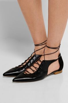 Malone Souliers | Montana lace-up leather and suede point-toe flats | NET-A-PORTER.COM