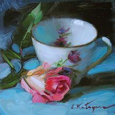 """Evening Rose"" - Original Fine Art for Sale - © Elena Katsyura"
