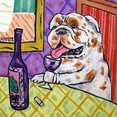 ALLIGATOR at the wine bar  art print artwork gift 11x17 glossy