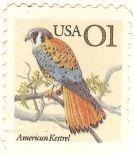 O selo impresso em 1991 apresenta o Falcão-americano, American Kestrel - Falco sparverius,...