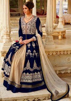 Classic Navy Blue and Beige Designer #Anarkali #Suit