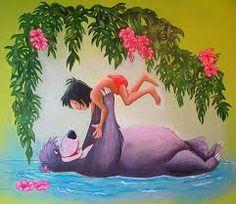 Muurschildering junglebook